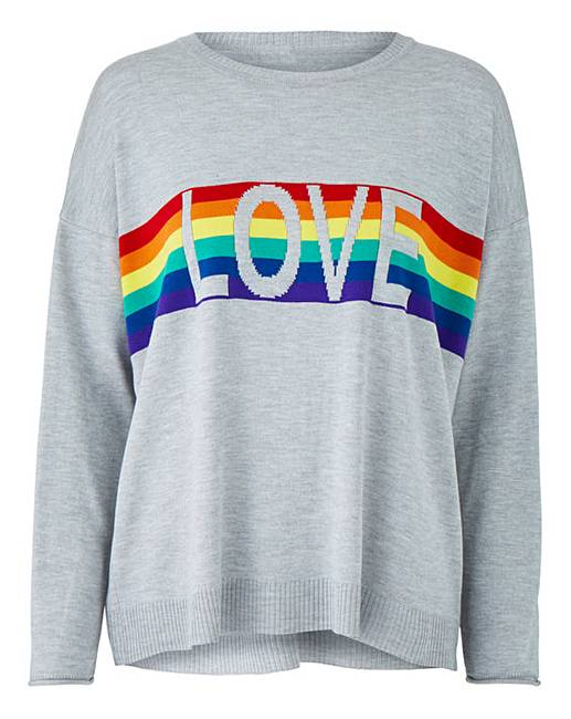 JD williams rainbow love boxy jumper