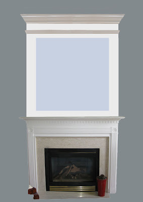 A simple fireplace is brought up to the ceiling with mdf and moldings.