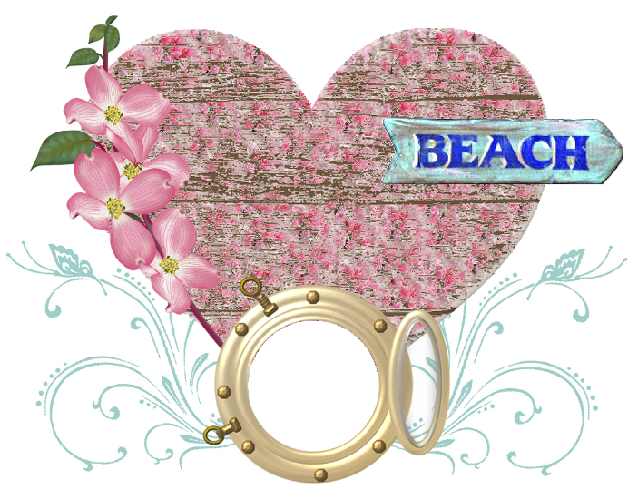 frame marina, sun, beach,element scrapbooking