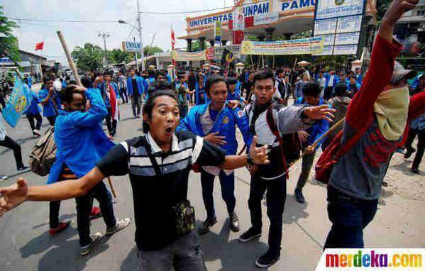 demo unpam, demo mahasiswa unpam, tragedi unpam, tragedi demo mahasiswa unpam