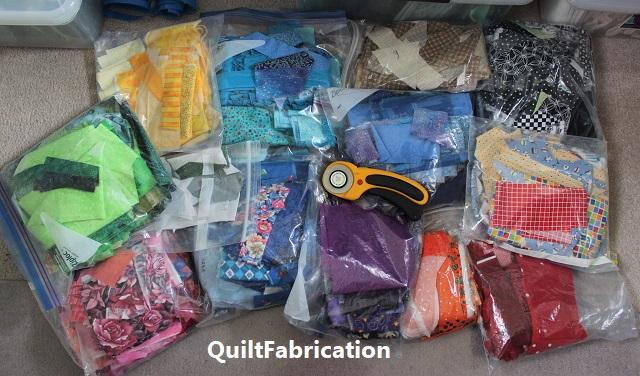 zip lock bags full of scrap fabric
