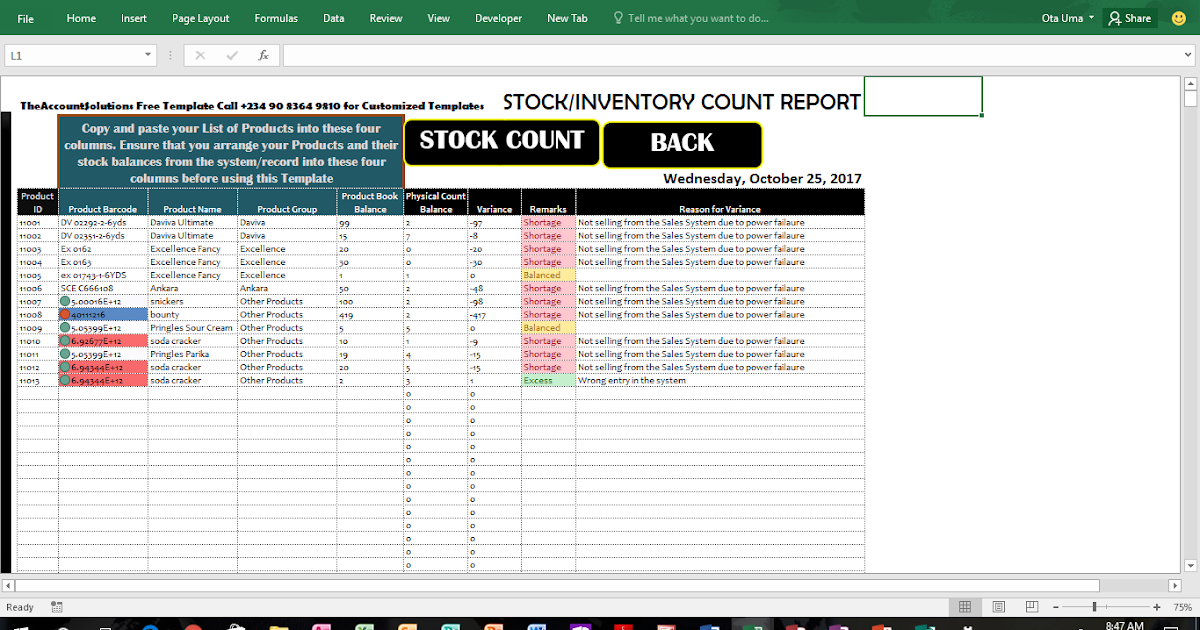 HOW TO COUNT STOCK/INVENTORY WITH A BAR-CODE SCANNER ON EXCEL