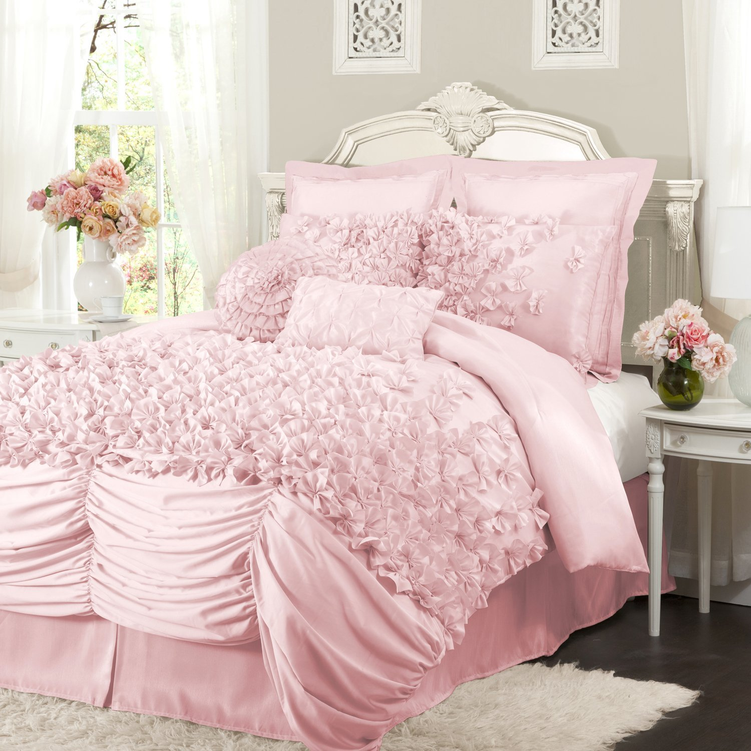 Madison Park Sabrina Comforter Set Full/Queen Size - Pink, Medallion – . Madison Park Sabrina provides a soft and cozy look for your bedroom. The cotton chenille fabric creates a medallion design on the top of bed and shams in a soft pink color.