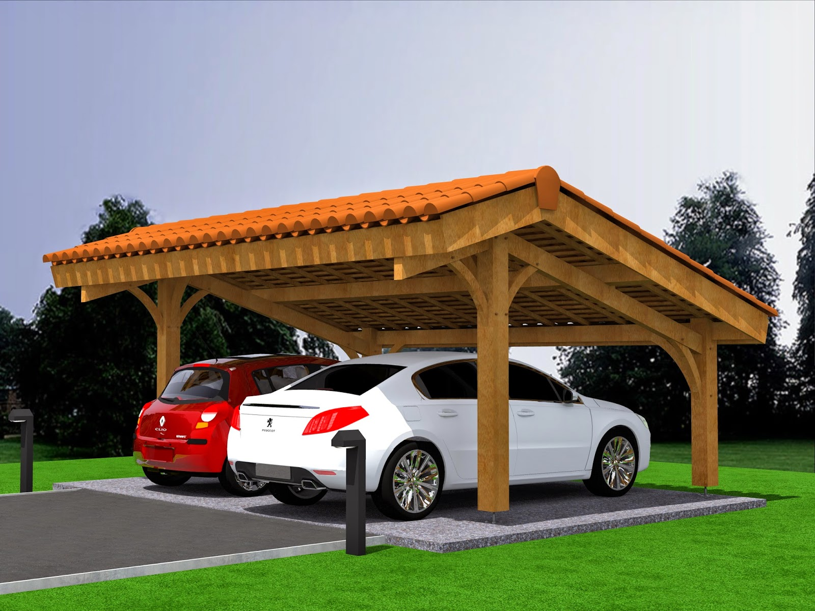 mod lisation projet carport bois 2 voitures avec. Black Bedroom Furniture Sets. Home Design Ideas