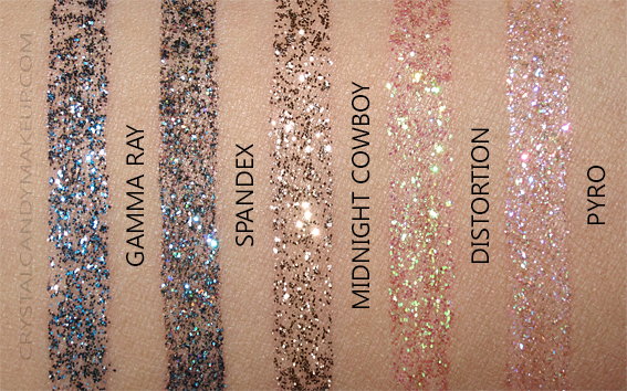 Urban Decay Heavy Metal Glitter Eyeliners Swatches Gamma Ray Spandex Midnight Cowboy Distortion Pyro
