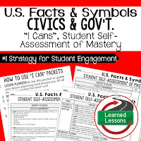 US Facts and Symbols, Civics and Government I Cans, Self-Assessment of Mastery, Student Ownership of Learning