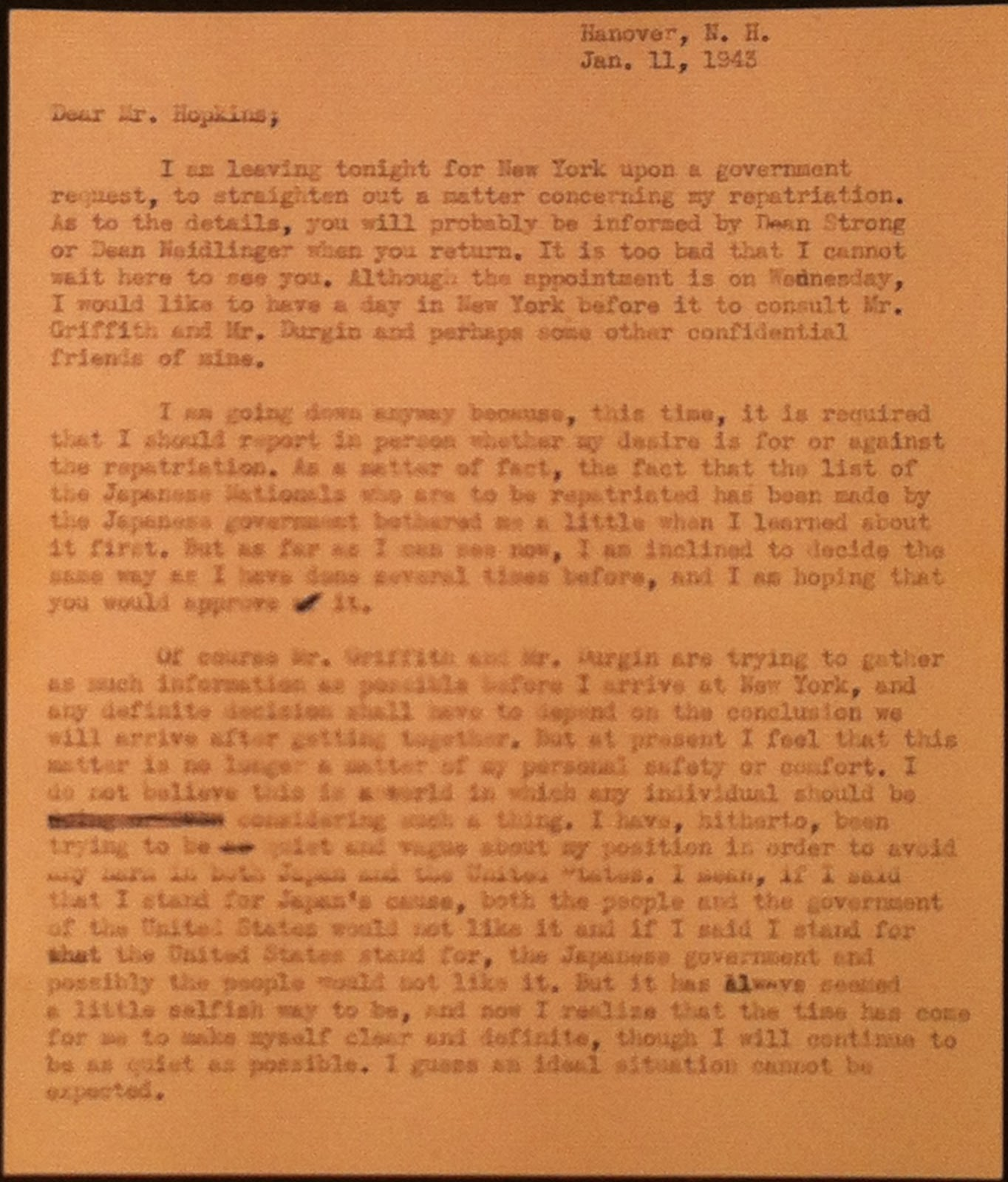 The first page of a typed letter to Hopkins.
