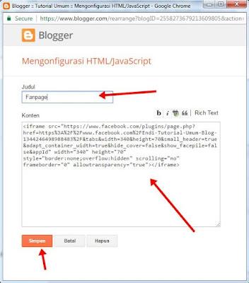 Cara Membuat widget like box fanpage terbaru di blog