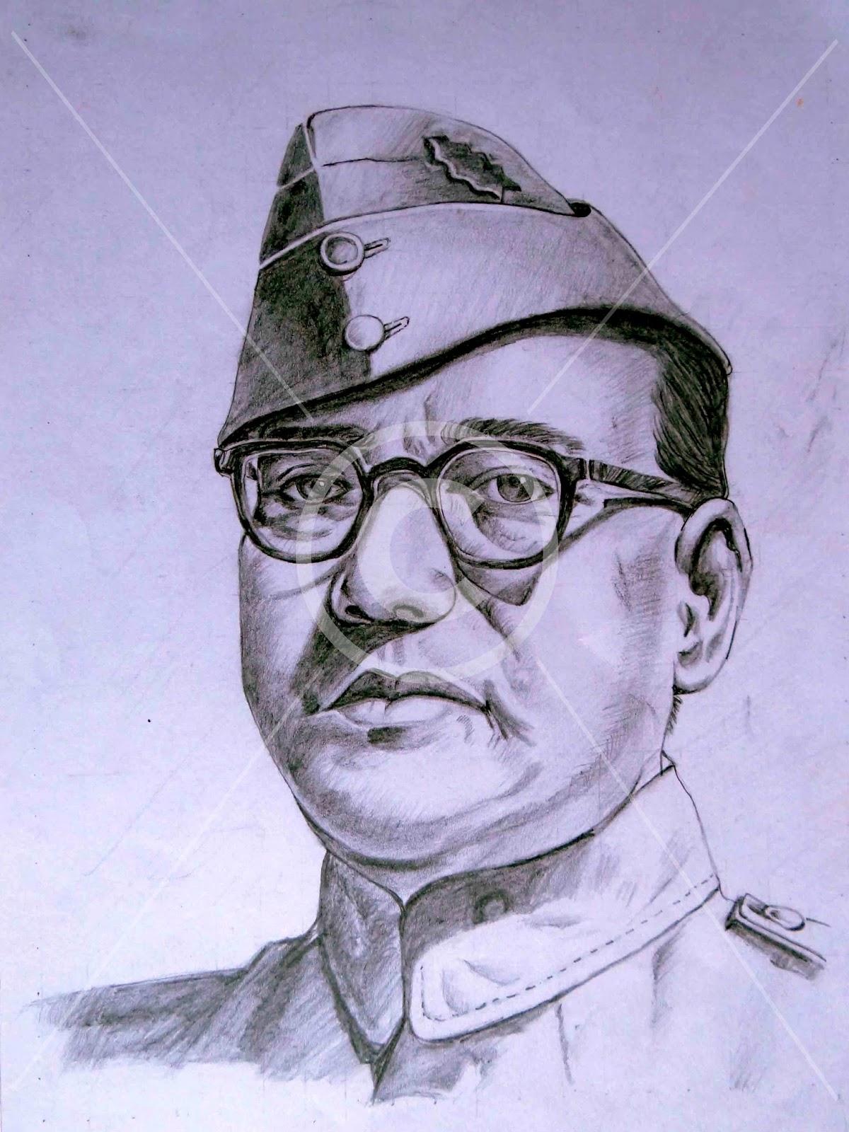 Subhash chandra bose pencil sketch hemanth drawings paintings