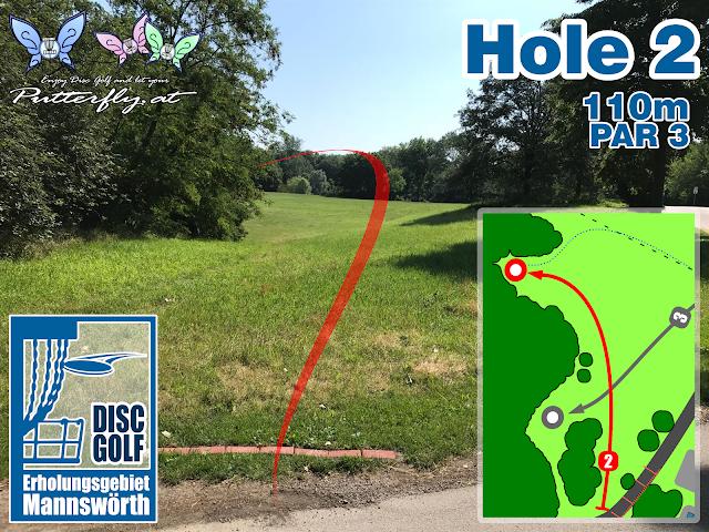 Hole 2 Disc Golf Parcours Erholungsgebiet Mannswörth - Schwechat