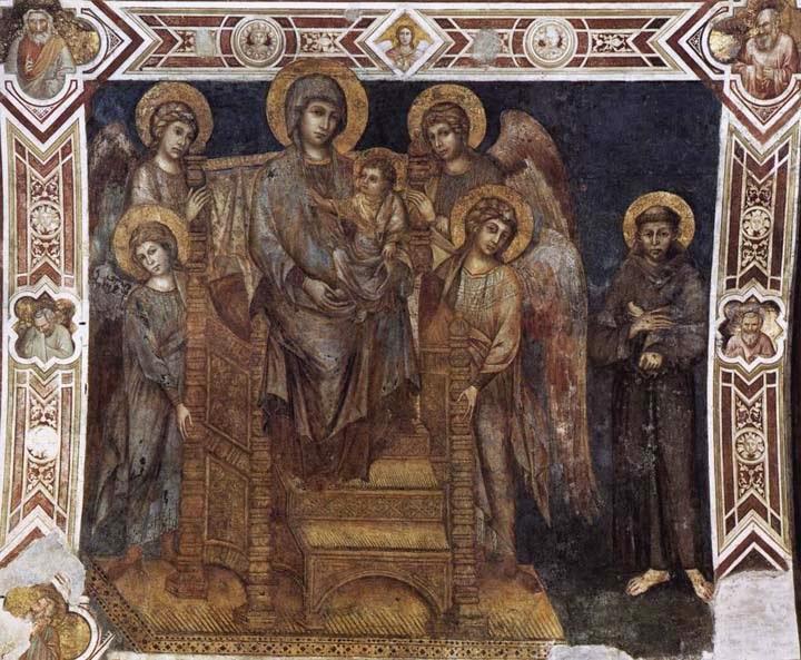 Madonna com a Criança, São Francisco e Quatro Anjos - Giovanni Cimabue e suas pinturas ~ O criador de mosaicos