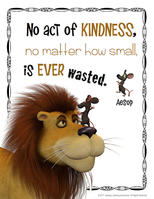 "Aesop's Fable, ""The Lion and the Mouse"" help teach kindness."