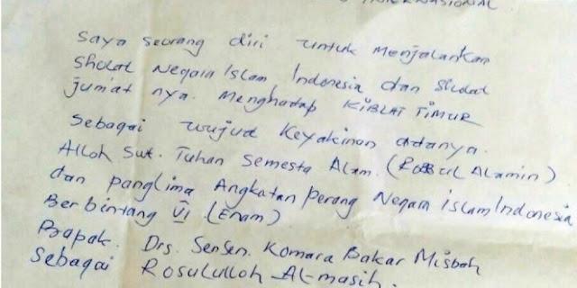 Tulis Surat Kepada Pemerintah, Jenderal NII Ini Minta Izin Sholat Menghadap Ke Timur