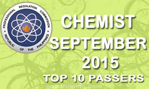 September 2015 Chemist PRC Top 10 Board Exam Passers