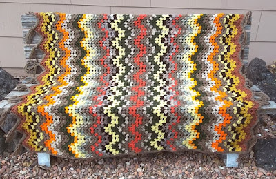 "Crocheted afghan, ""Autumn Colors"""