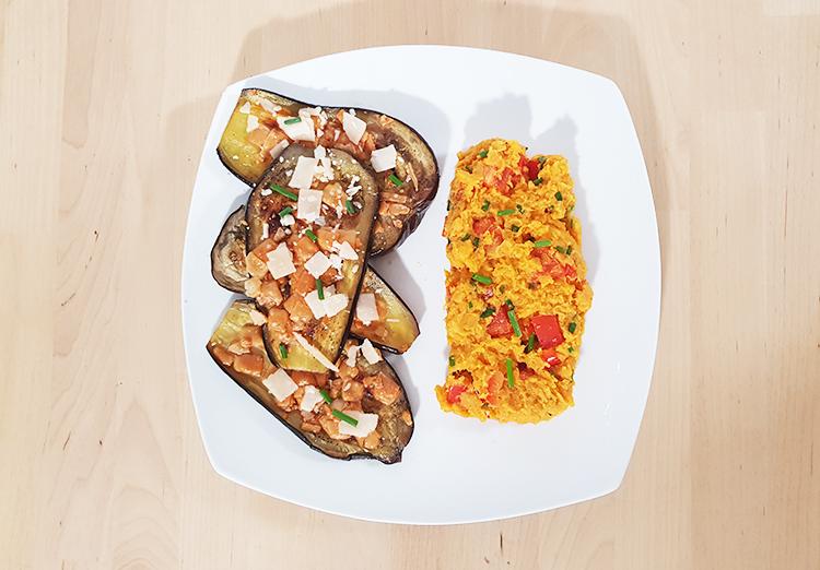 Purée de patates douces et aubergines