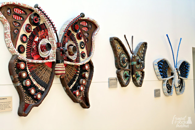 The Michelle Stizlein moths industrial art exhibit at COSI- Each giant breathtaking moth is constructed from 100% recycled materials.