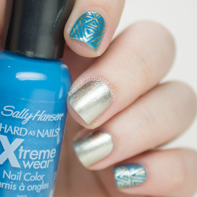 Piggieluv Freehand Stairway To Heaven Nail Art: Turquoise And Gold Art Deco Nail Art