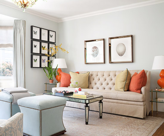 Boring Walls Were Swed For Light Green Ones That Pop The Wall Molding Adds Pattern And Design While White Furniture A Subtle Accent Color