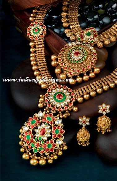 344de046c Checkout gorgeous Grt bridal gold antique jewellery.22k gold antique kundan  bridal necklace studded with rubies and emeralds and paired with matching  long ...