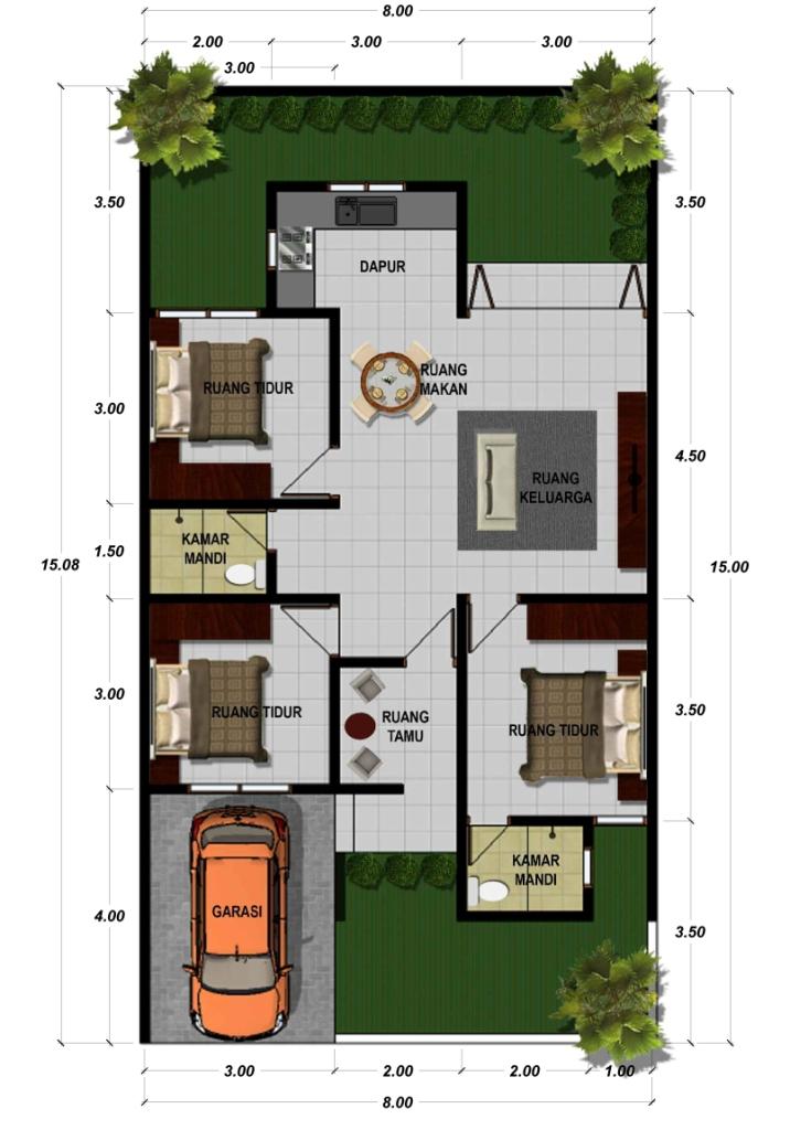 Concept Denah Rumah Type 38 Paling Baru