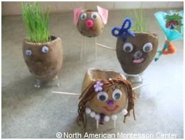 Montessori Preschool planting activities classroom potato head grass hair