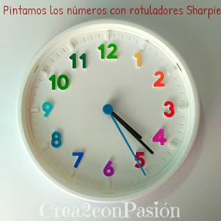 Base-reloj-ikea-pintamos-círculo-cromático-con-sharpie-reloj-primaveral-para-aprender-las-horas-Crea2conPasión-rotuladores-Sharpie-