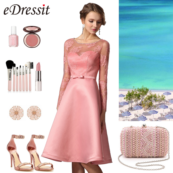 long sleeves sweetheart pink party dress