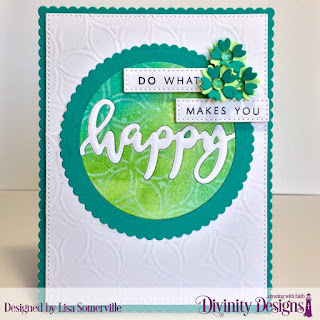 Divinity Designs Stamp/Die Duos: Happy, Custom Dies: Bitty Blossoms, Pierced Rectangles, Scalloped Rectangles, Scalloped Circles, Circles, Mixed Media Stencil: Petals