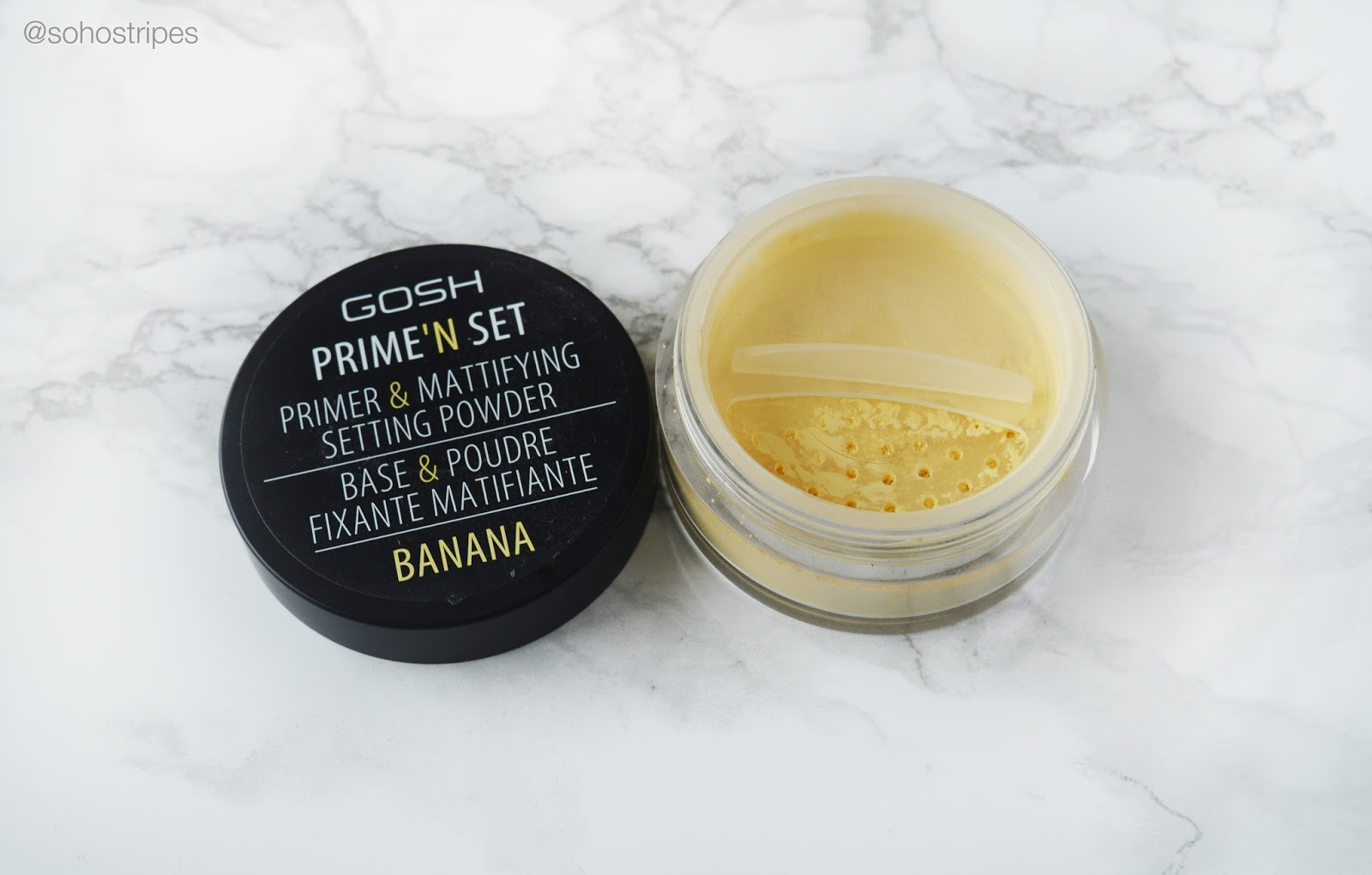GOSH Prime'n Set Banana Powder Primer and Mattifying Setting Powder Superdrug