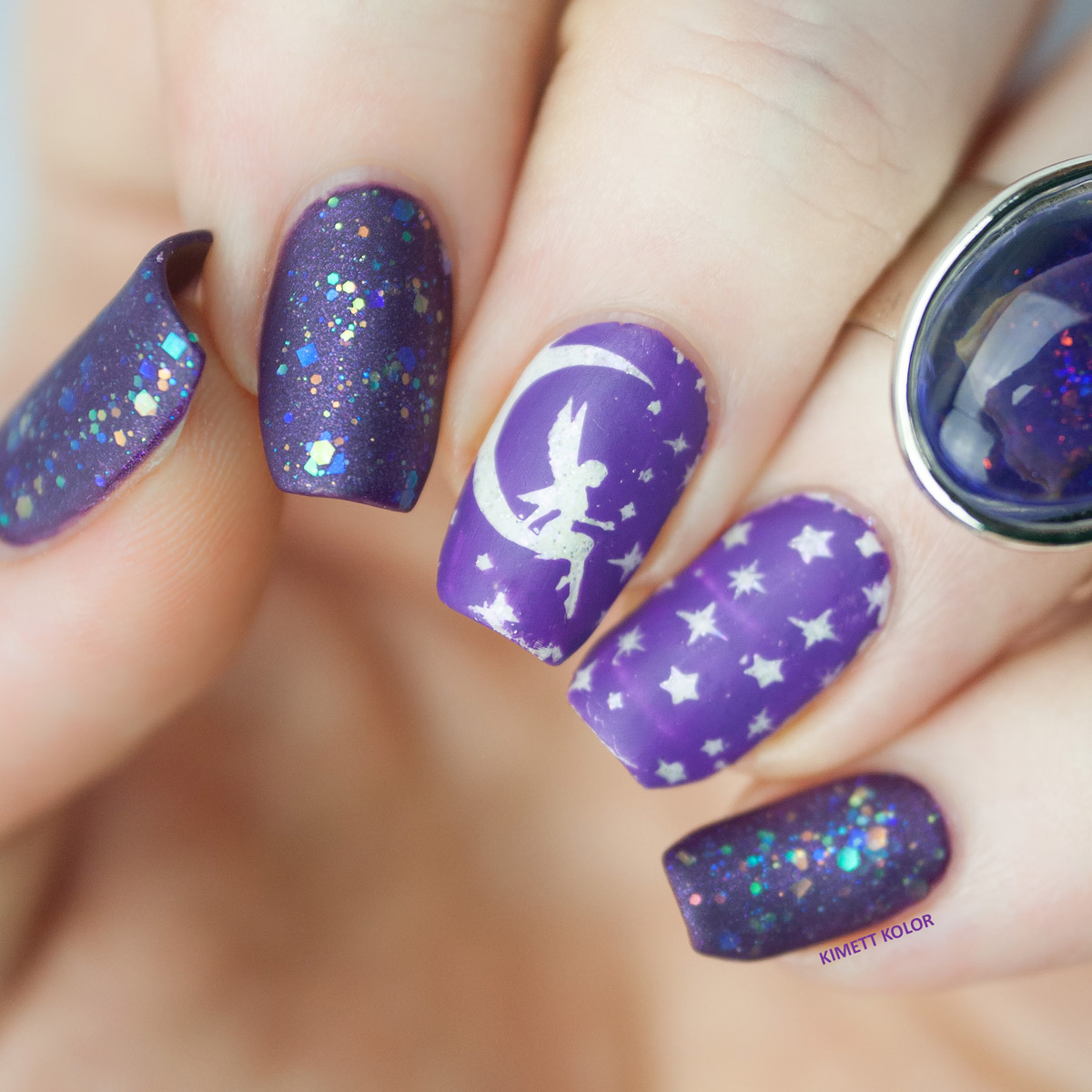 Purple Stamping Nail Art DRK Magic Garden