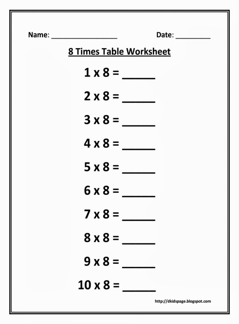 Kids Page: 8 Times Multiplication Table Worksheet