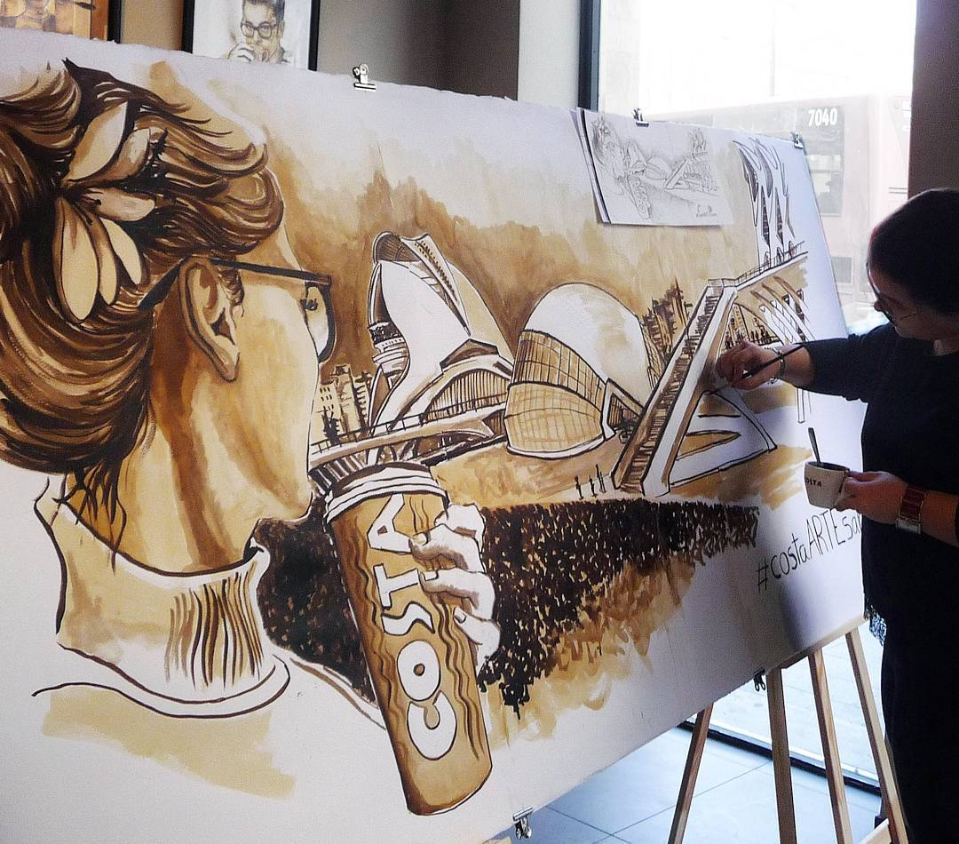 13-Costa-Coffee-Nuria-Salcedo-nuriamarq-Celebrities-and-Animated-Movies-Painted-with-Coffee-and-Brown-Pencil-www-designstack-co