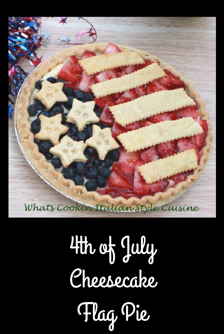 this is a round cheese cake style no bake pie with flag decorations on top made from Pie crust, blueberries and strawberries with a red white and blue theme for any Patriotic holiday recipes