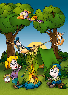 Clipart Image of People Outside a Tent at a Campfire