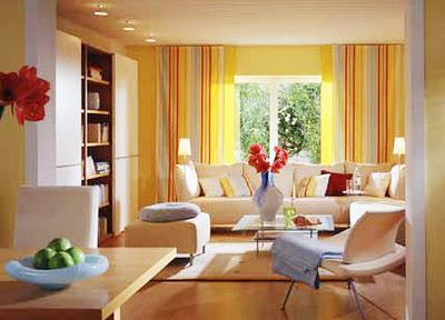 Hermosas salas en color amarillo colores en casa for Cortinas amarillas