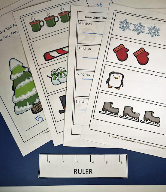 Winter Ruler Measurements Worksheets