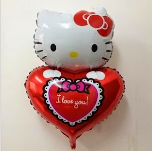 Balon Foil Character Hello Kitty I Love You