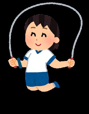 縄跳びで飛ぶ子供のイラスト(女の子)