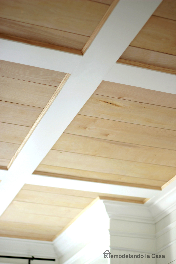 wooden tone and white coffered ceiling installation