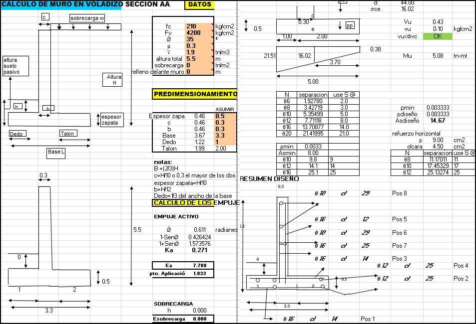 Cálculo de muro de contención en voladizo