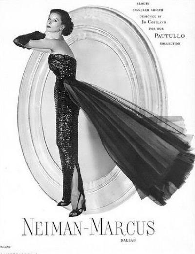 Suzy Parker Modeling a Jo Copeland_Evening Gown for  Neiman-Marcus' Pattullo Collection Erwin Blumenfeld Photo for Harper's Bazaar October 1952