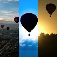 balões subindo e desaparecendo no céu