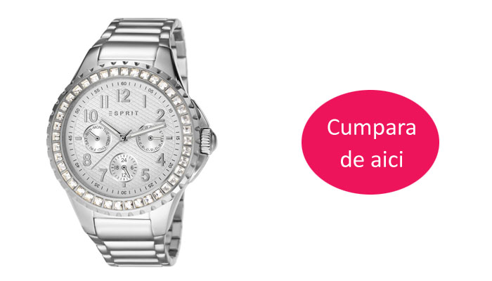 Ceas elegant dama argintiu cu pietre Esprit Benicia ES106622008