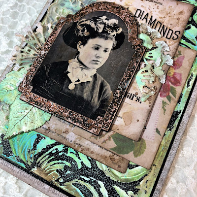 Frilly and Funkie https://frillyandfunkie.blogspot.com/2019/04/saturday-showcase-seth-apters-baked.html Spring Card Tutorial with Tim Holtz 3D Embossing Seth Apter Baked Velvet by Sara Emily Barker 14