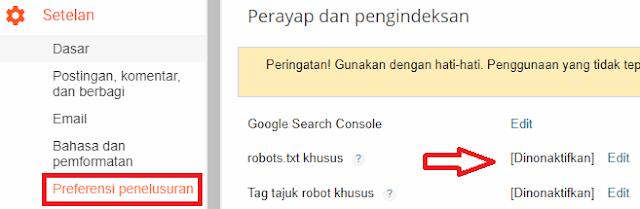 Setting robots.txt menjadi default