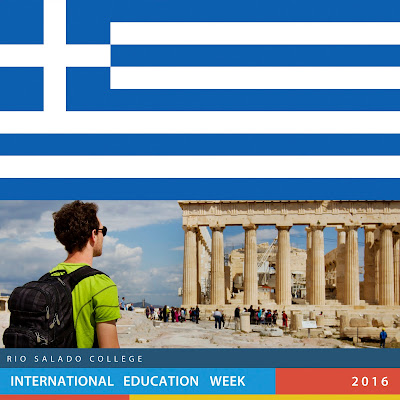 Image of Greek flag and image of a young man standing in front of a Greek ruin.