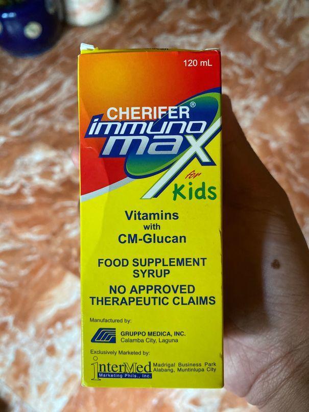A bottle of Cherifer Immunomax syrup for kids