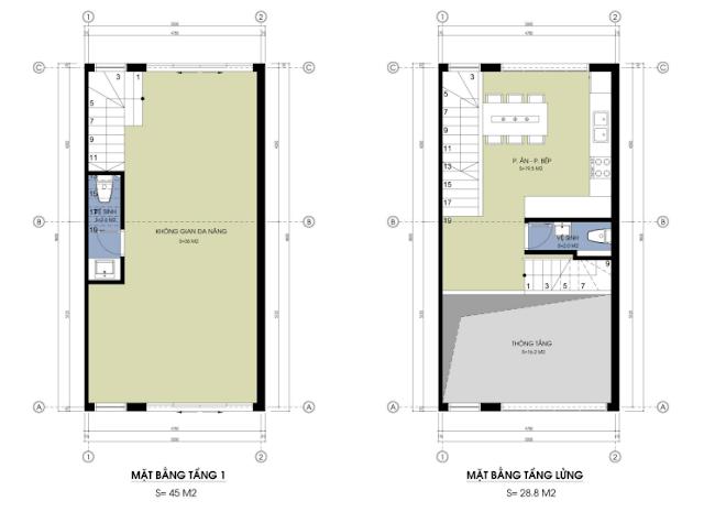 Mặt bằng tầng 1 - lửng mẫu nhà liền kề 02