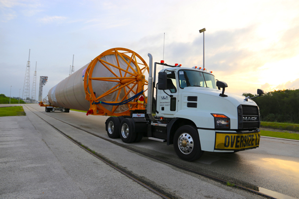 The Atlas V booster that will send NASA's Perseverance rover to Mars this summer is transported to the Vertical Integration Facility at Cape Canaveral Air Force Station's Space Launch Complex (SLC)-41 in Florida...on May 28, 2020.